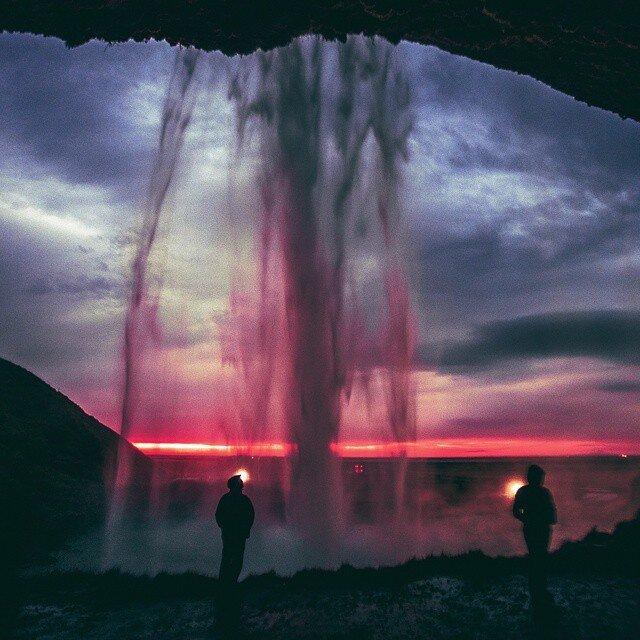 Valle De Bravo Waterfall overlooking a sunset