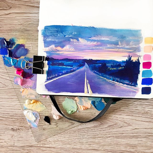 Playing with colour palettes here 🎨🎨 this one is hugely influenced by the work of amazing oil painter, Pam Carter (I have a link to her website in the description of the YouTube video of this painting 👆🏽) This is a really fun practice in value study and also a great way to explore colour combos you ordinarily wouldn't use. Do you guys have any artists in mind whose use of colour stands out to you?? ⠀ .⠀ .⠀ .⠀ .⠀ .⠀ .⠀ #art #painting #illustration #gouache #sketchbook #moleskine #colorpalette #sunset #Aesthetic
