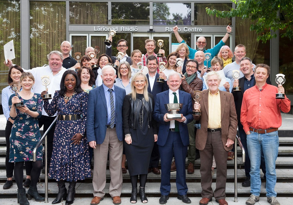 At the prize giving event in RTE for the New York International Festivals for Radio 2017.  My play 'A Matter of Modesty' won two golds: Best Scheduled Radio Drama and Best Actor for Eamon Morrissey, front row. Second row is Goretti Slevin producer and moi holding two 'gold' radio mics, symbolising the happy outcome.