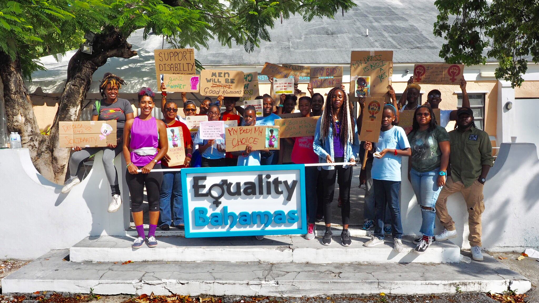 """""""At the end of the    #PressForProgress    Expo for Women & Girls on March 10, 2018."""" Caption and image taken from    Equality Bahamas   ' Facebook page."""