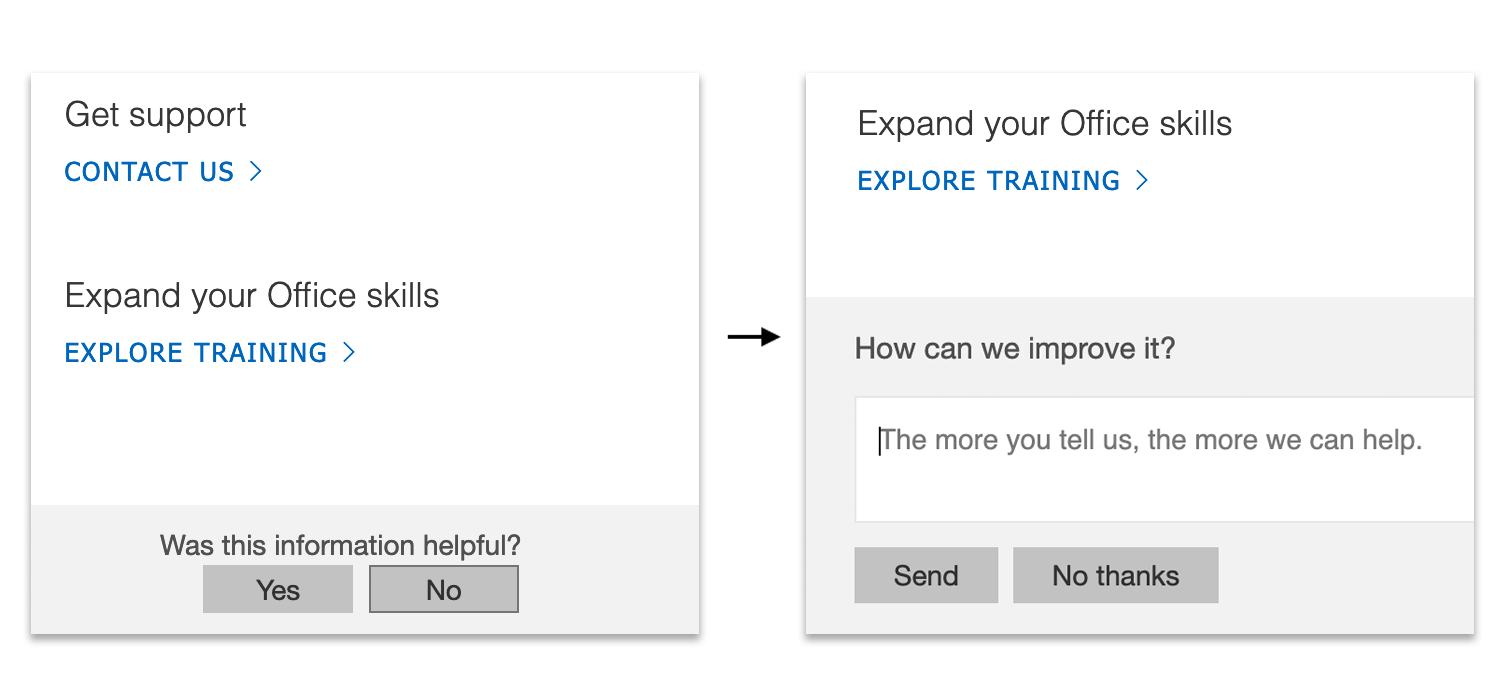"Example of a user-feedback form, from  ""Microsoft Office Help and Training."""