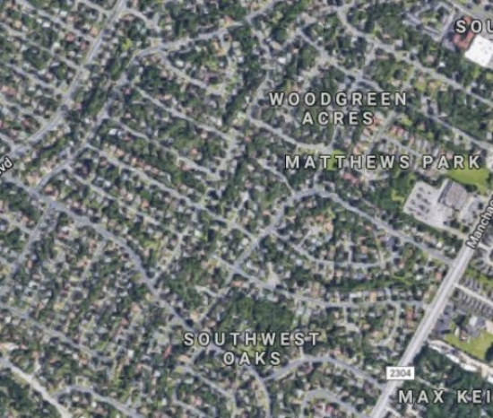 "Above is a google maps snapshot of what I would call a ""suburbia desert"". There is a single tiny park on the Northwest side of the map. There is no shared green space that is within walking distance for many residents of this neighborhood."