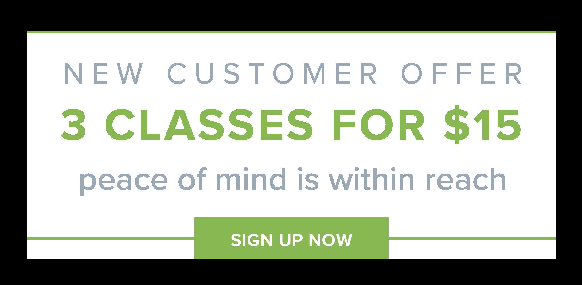 New customer offer - 3 meditation classes for $15