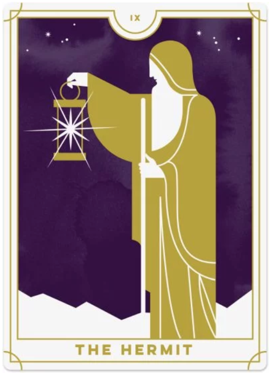 HUMAN DESIGN X TAROT - Gate 63 can be expressed through The Hermit, since the Hermit just wants to uncover the truth. Especially with doubting yourself, it's important to remember that it's just idle thoughts until you have proof.Deck by Biddy Tarot