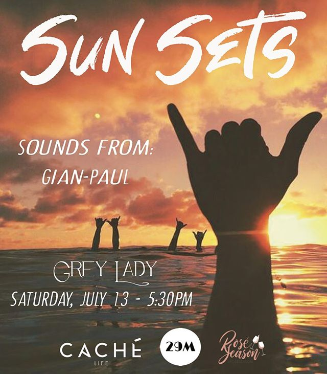 SUN SETS ~ Today 5:30pm outside on the patio 🌊🍾💃