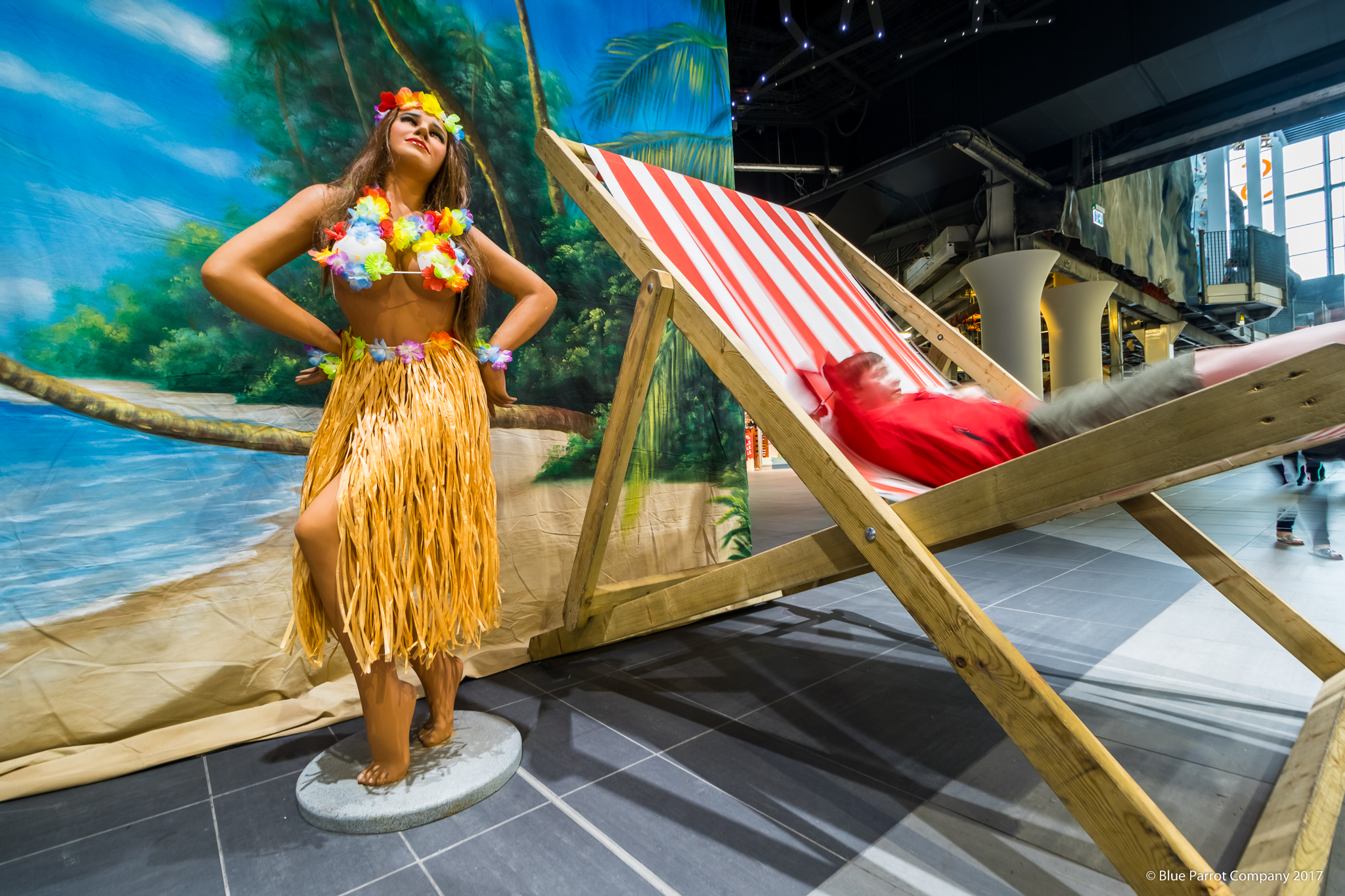 Hawaiian Woman and Deck Chairs
