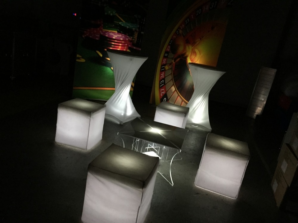 Vegas themed led chairs and poseur tables