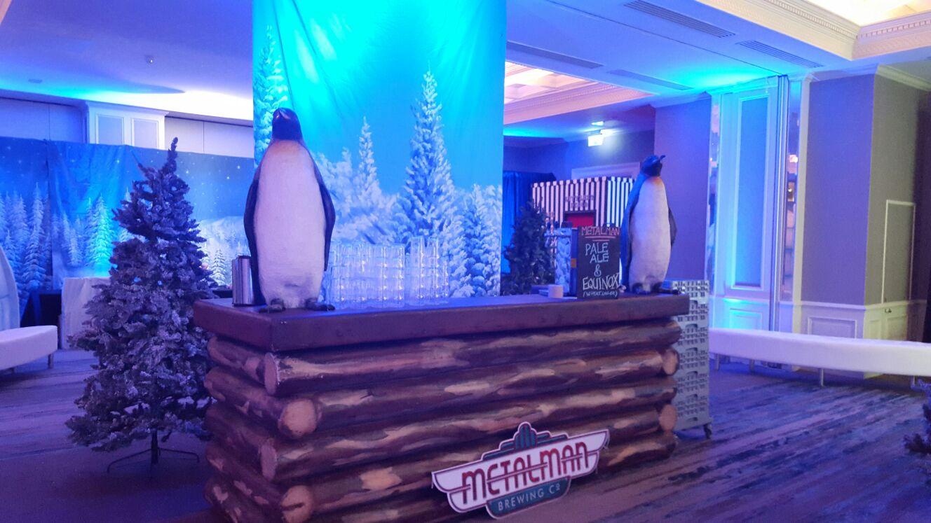 Winter themed backdrop and log bar.
