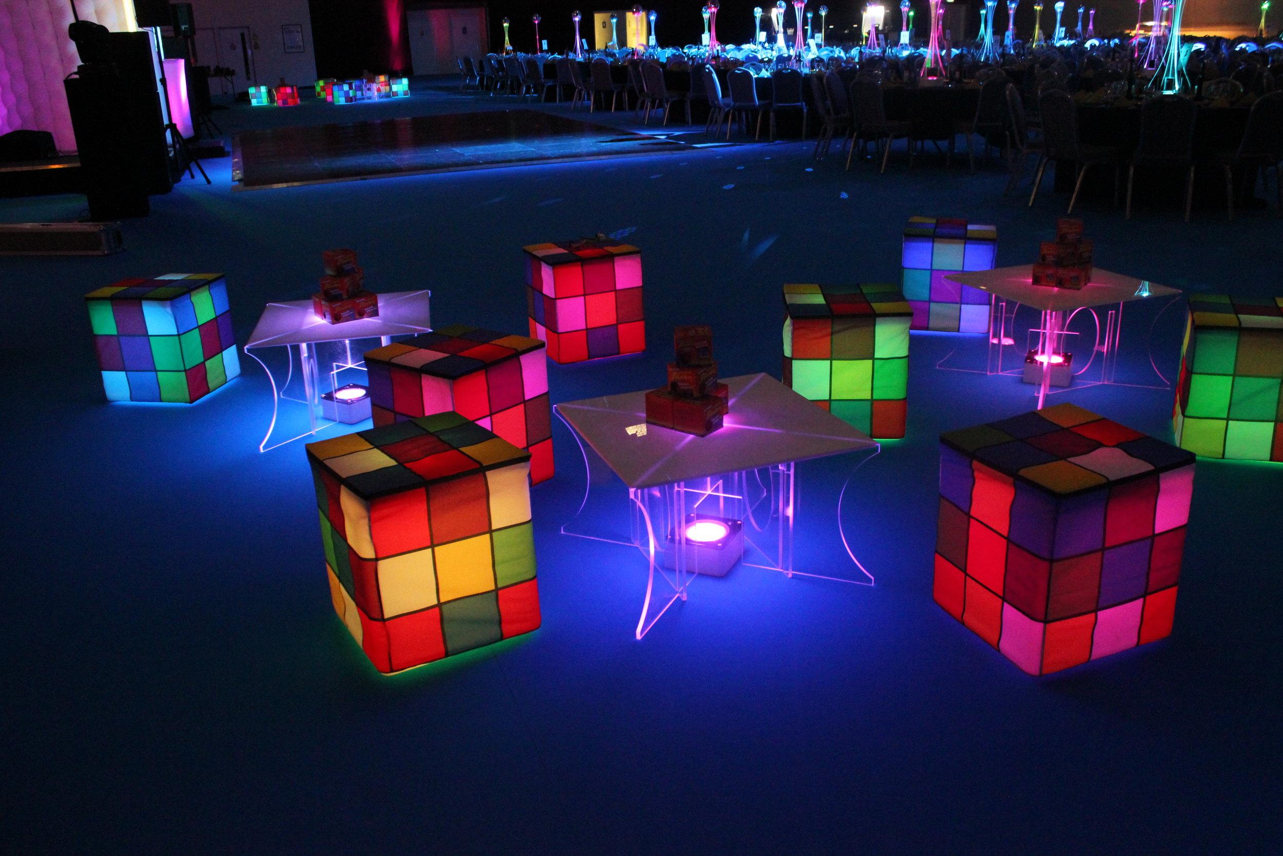 LED Rubik's cube chairs
