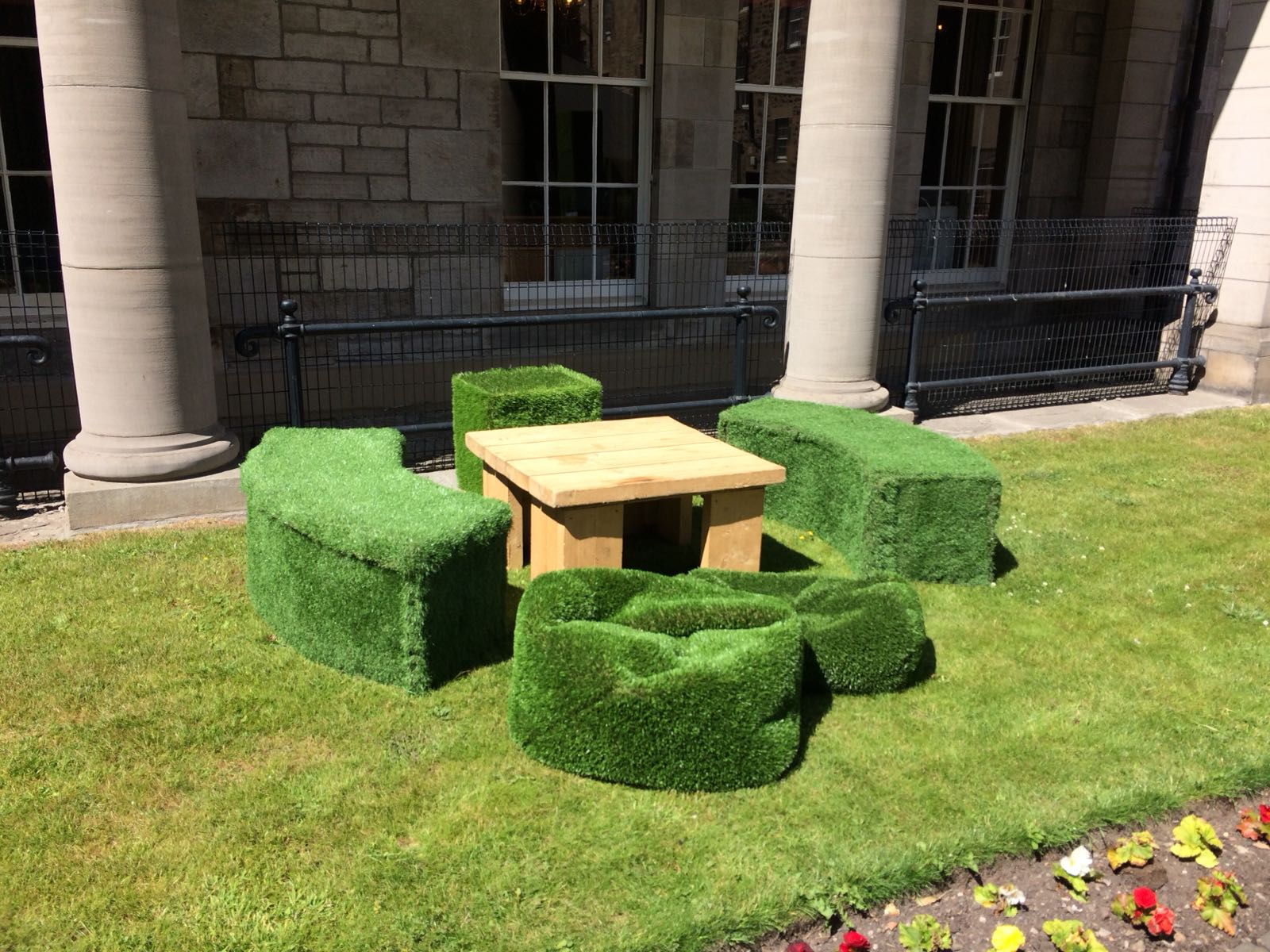 Curved Grass Benches