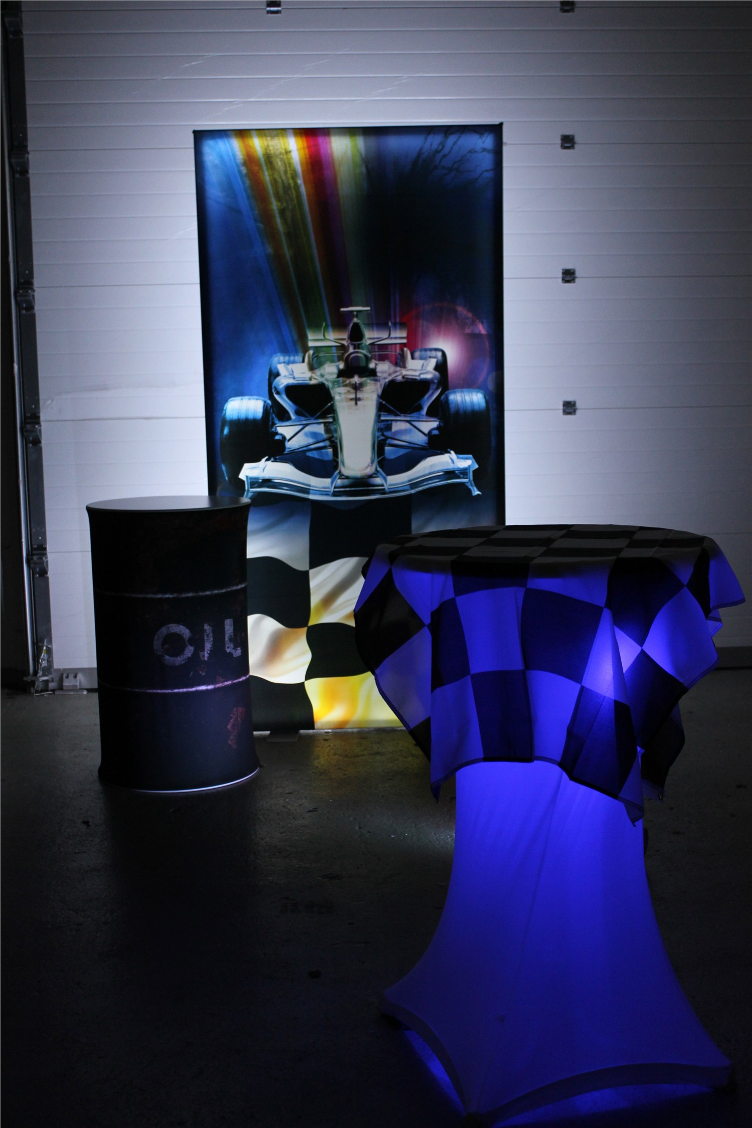 F1 Light Panel and Oil Drum Table