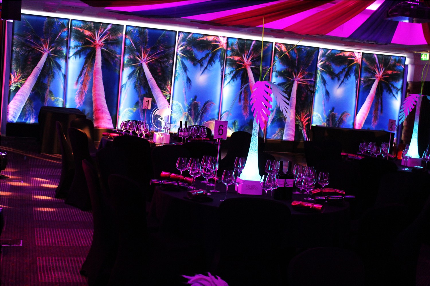 LED pine tree table centres and Pine tree light panels
