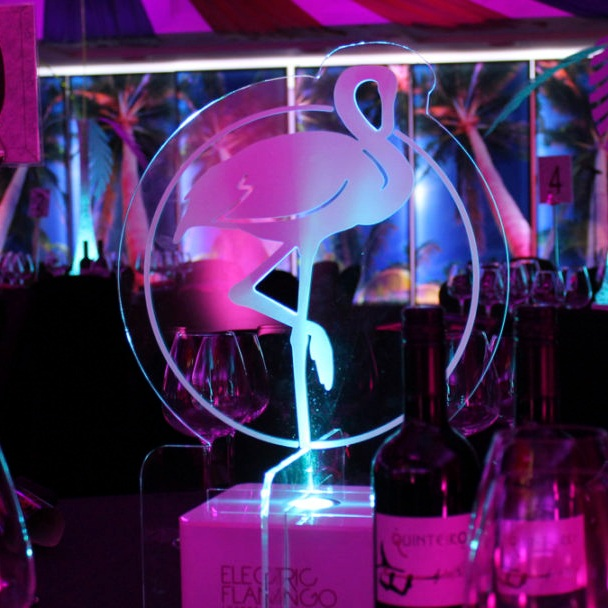 Electric Flamingo Table Centre