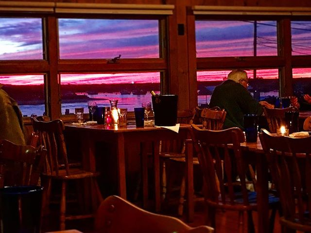 A breathtaking sunset to complement your delicious dinner here at the Home Port  #homeportmv #marthasvineyard #menemsha #seafood #dinnerwithaview #byob
