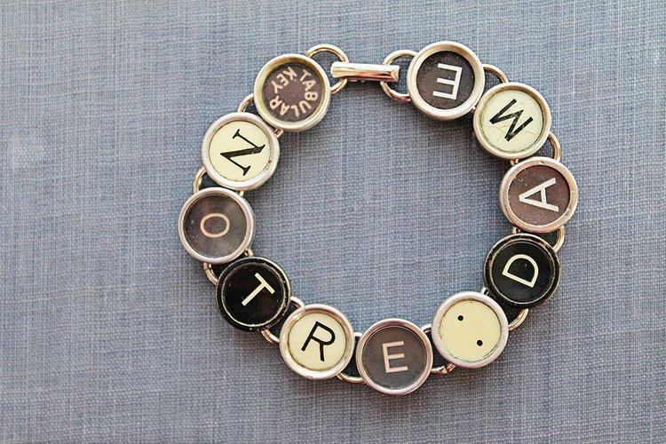 Writer Author Gift Typewriter Key Bracelet Authentic Black Typewriter Key Bracelet Letter Jewelry Blogger Type Key Jewelry