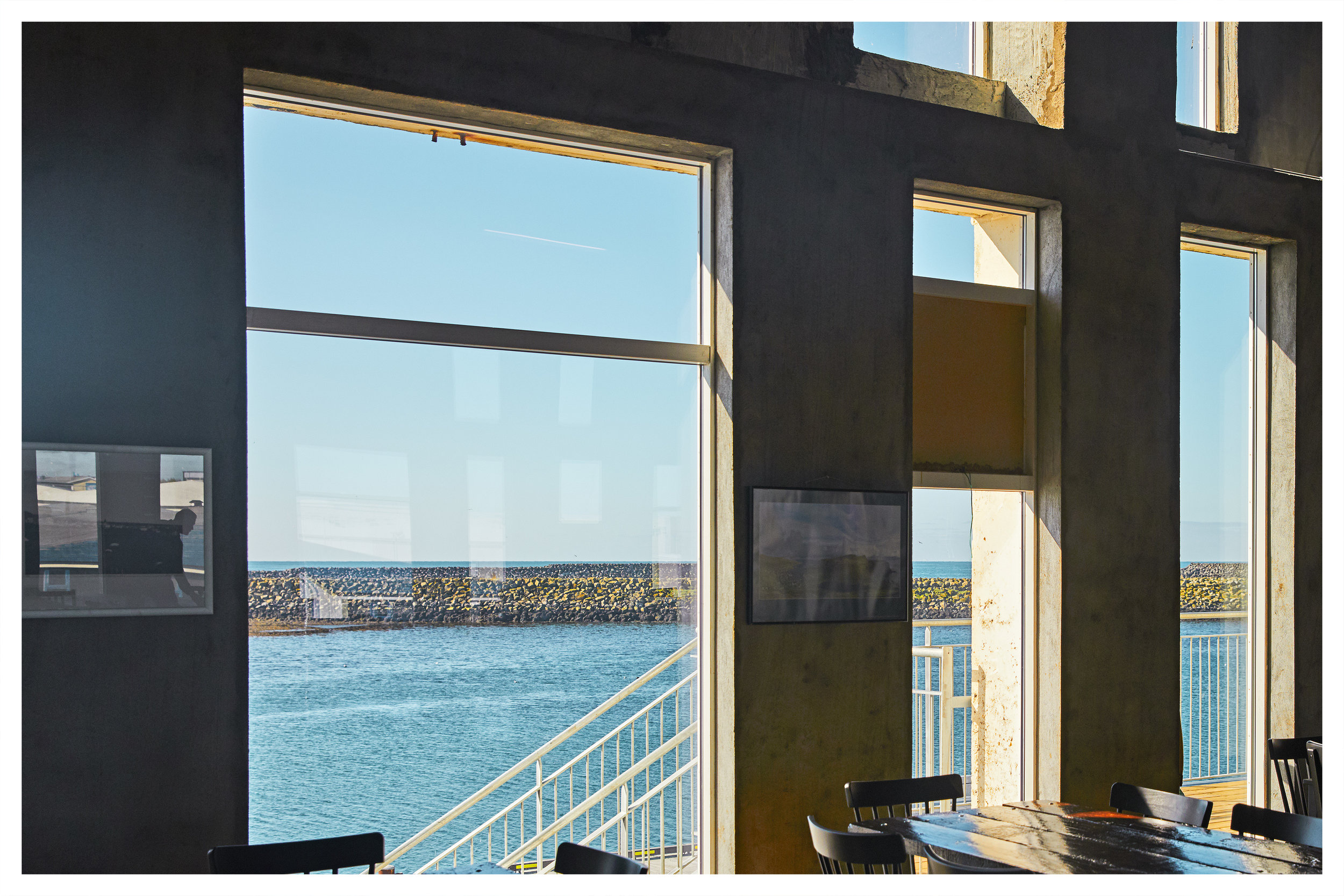 Netagerðin  - The Netagerðin hall has large windows providing a view over the Grindavik Harbour of the Atlantic Ocean to the south.