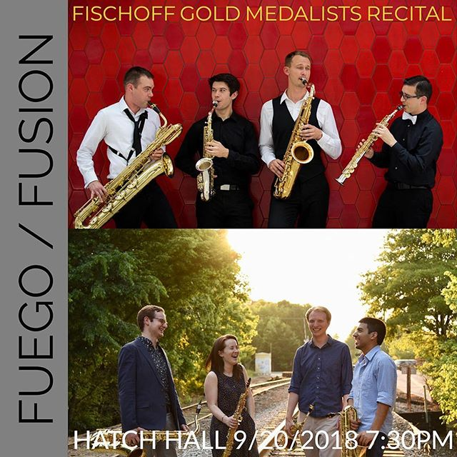 We are thrilled to be in Rochester this week for a couple of exciting performances! First up is our Fischoff Gold Medalists Recital with the 2013 winner, Project Fusion! The recital will be live streamed at ➡️ www.esm.rochester.edu/live/hatch ————— . . . . #esm #fischoff #gold #recital #saxophone #quartet #chambermusic #classicalmusic #eastman
