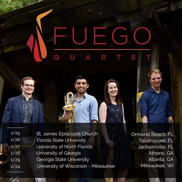We're looking forward to some upcoming performances in Florida, Georgia, and Wisconsin! Check out www.fuegoquartet.com/events for more details! ————— . . . . . #saxophone #classicalmusic #chambermusic #tour #wisconsin #georgia #florida