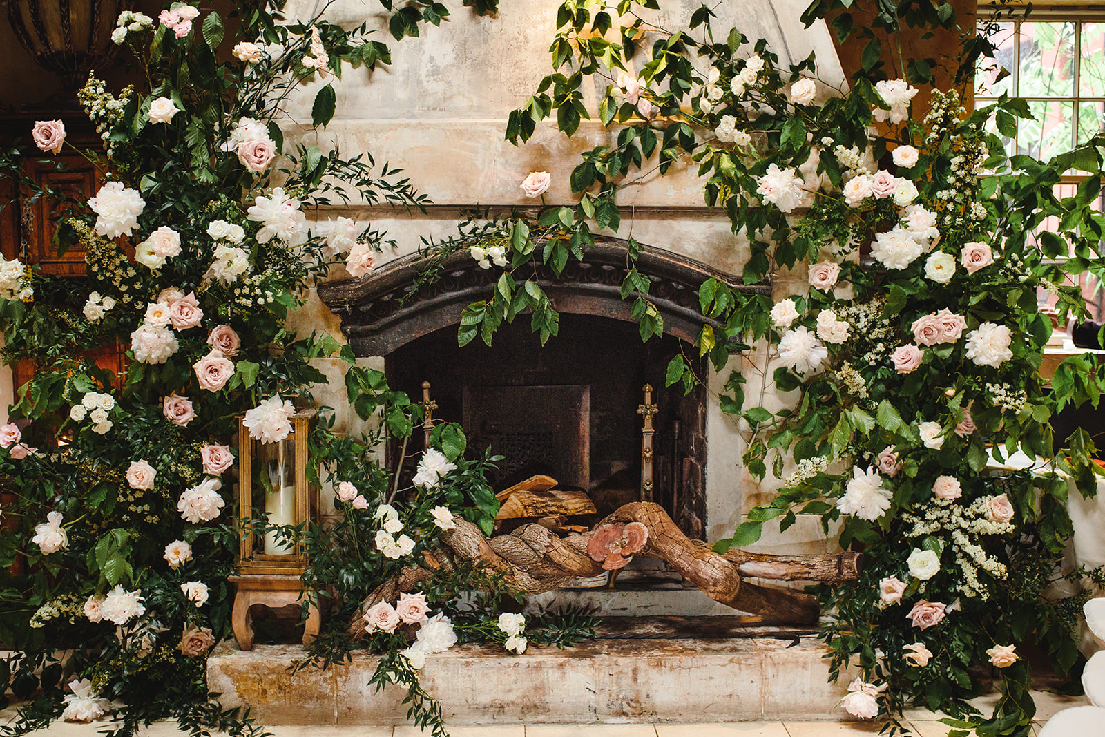 fireplace-floral-arrangement-pink-bowtie-nyc-ct.jpg