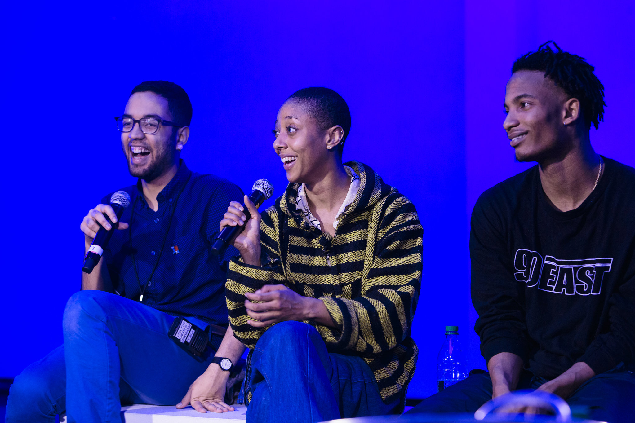 Moderating talkback with Fana Fraser and Martell Ruffin, following the dance performance for the series Recasting  The Body in Bronze , Brooklyn Museum, March 2018. (Photo: Kolin Mendez)