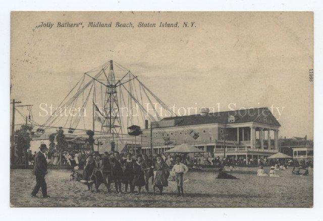 """Postcard: """"Jolly Bathers"""", Midland Beach, Staten Island, N.Y."""
