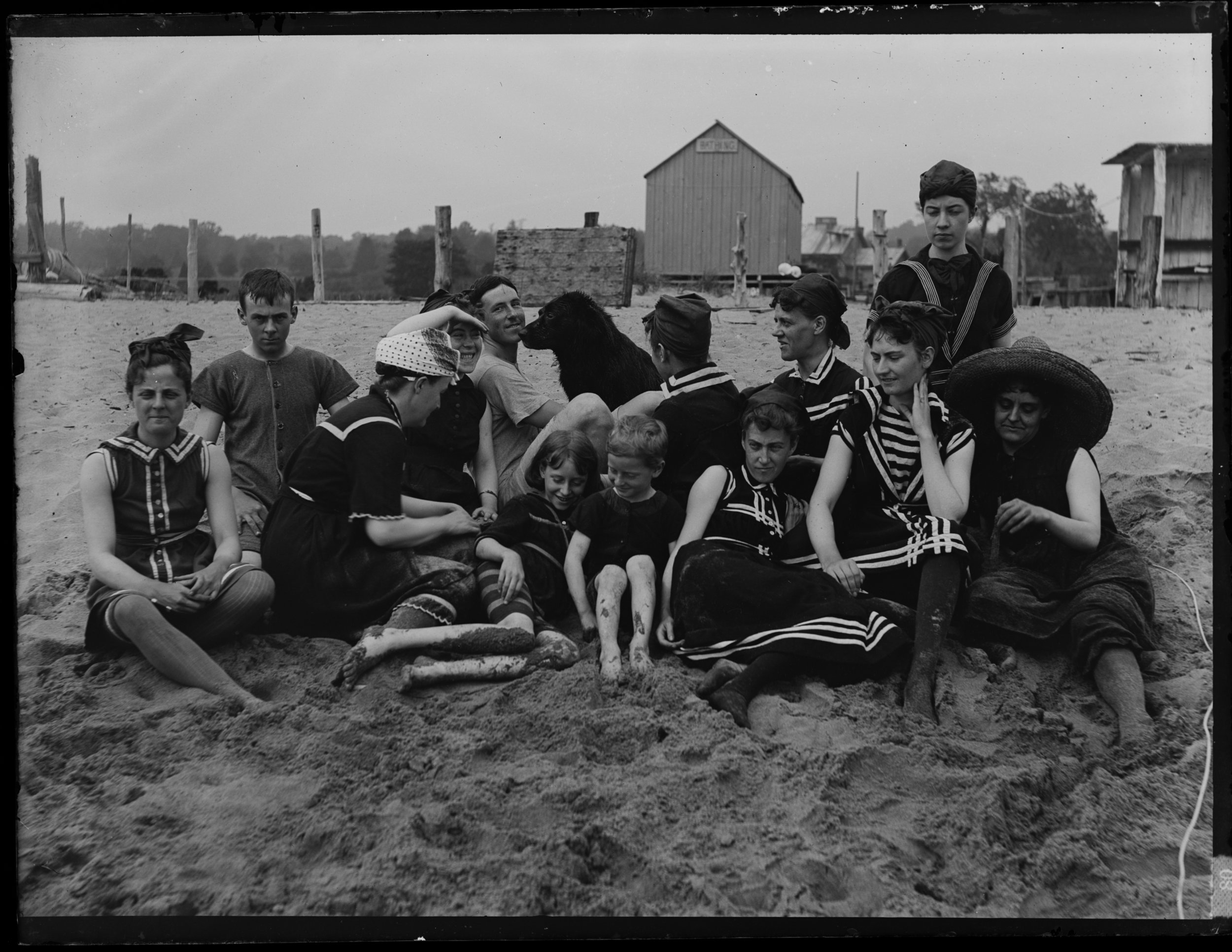 South Beach bathing party, Staten Island, September 15, 1886. Alice Austen is in the back row at right