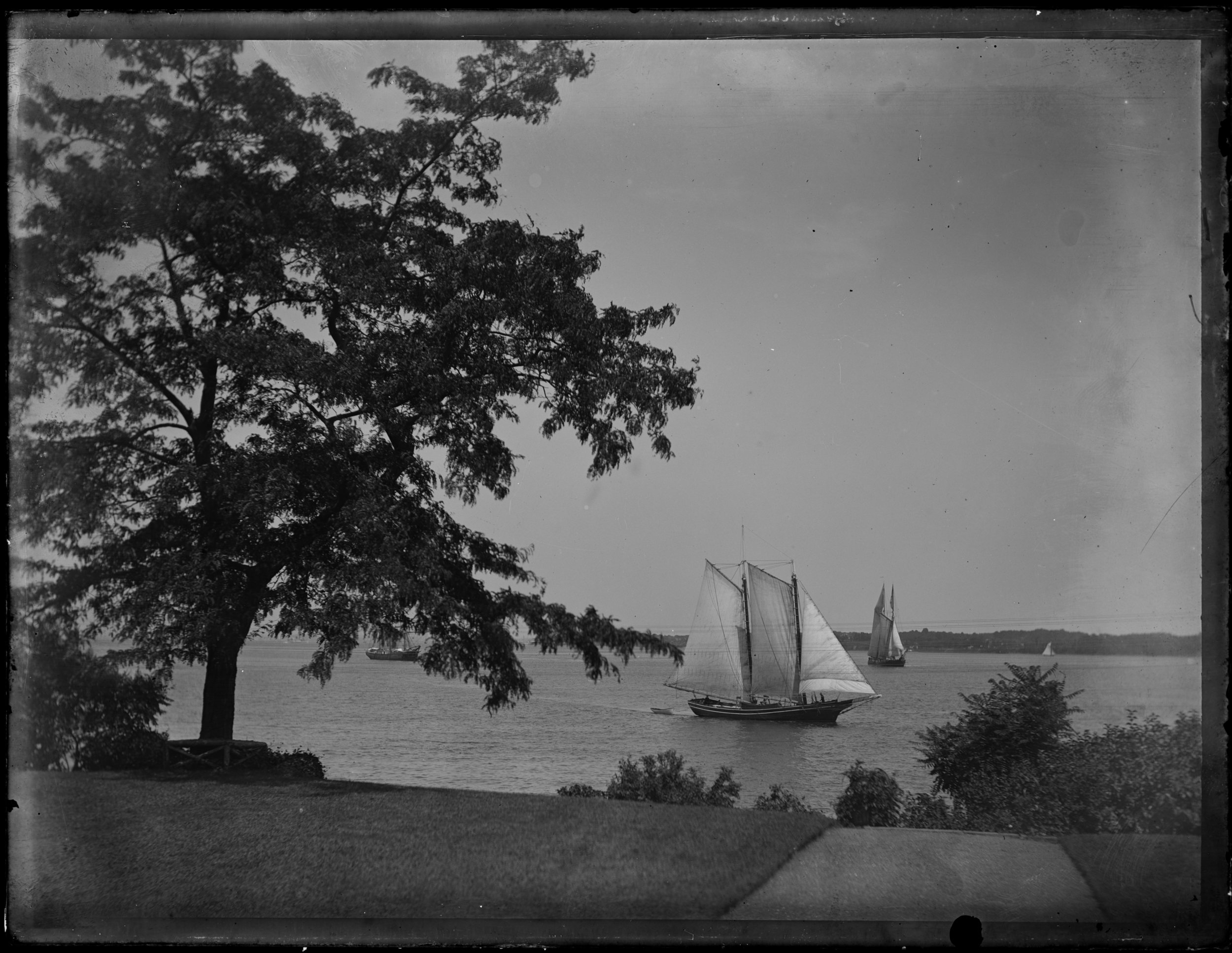 """View from front door, tree & schooner,"" New York Bay seen from Clear Comfort, August 8, 1887"
