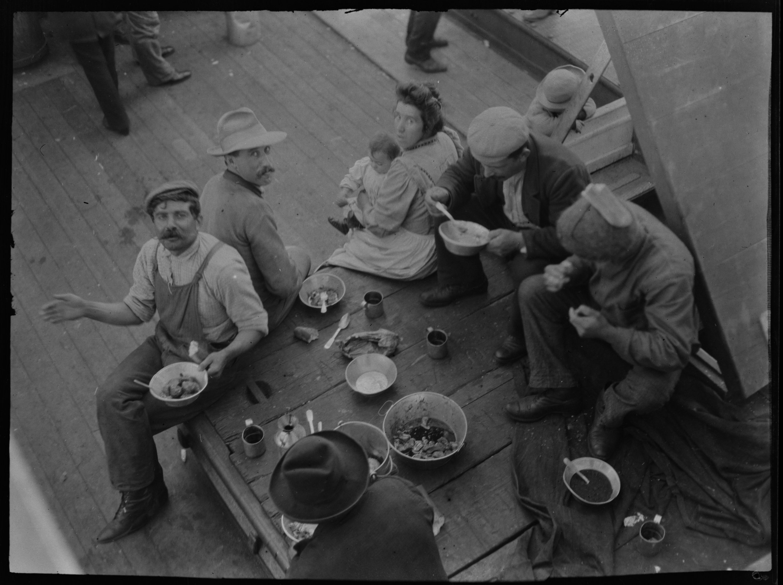 """Steerage at supper,"" aboard the S.S. Finland, June 14, 1909"