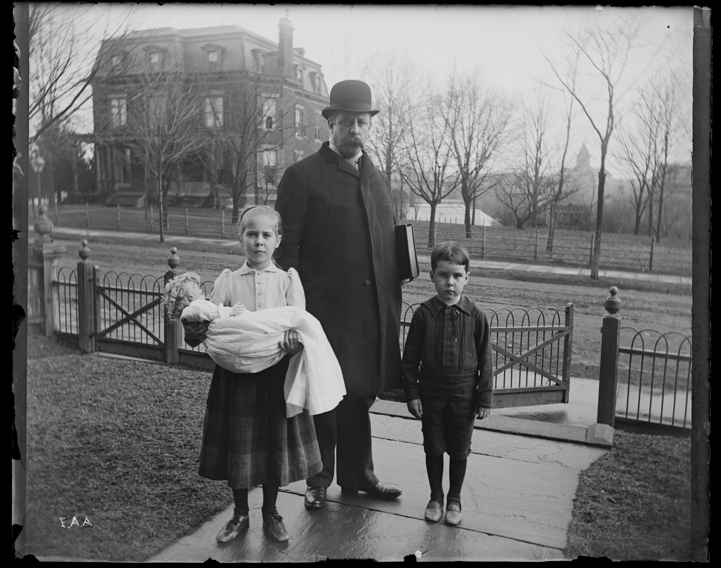 """Uncle Pete, Oswald & Lysbet,""(Peter T. Austen with his children Oswald and Elizabeth Patty), New Brunswick, New Jersey, March 7, 1892."