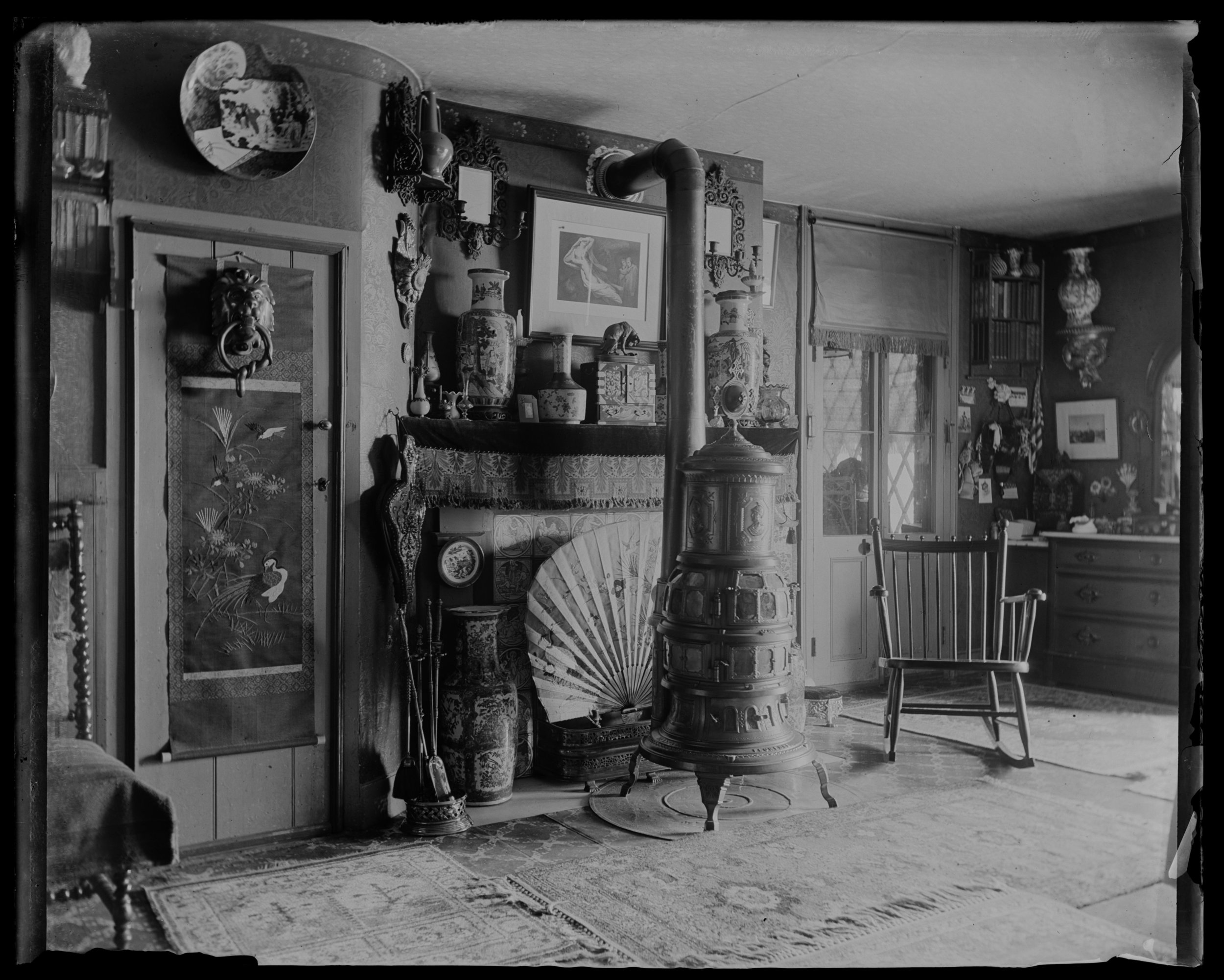 """Fireplace & stove, our room,"" bedroom at Clear Comfort, April 21, 1894"