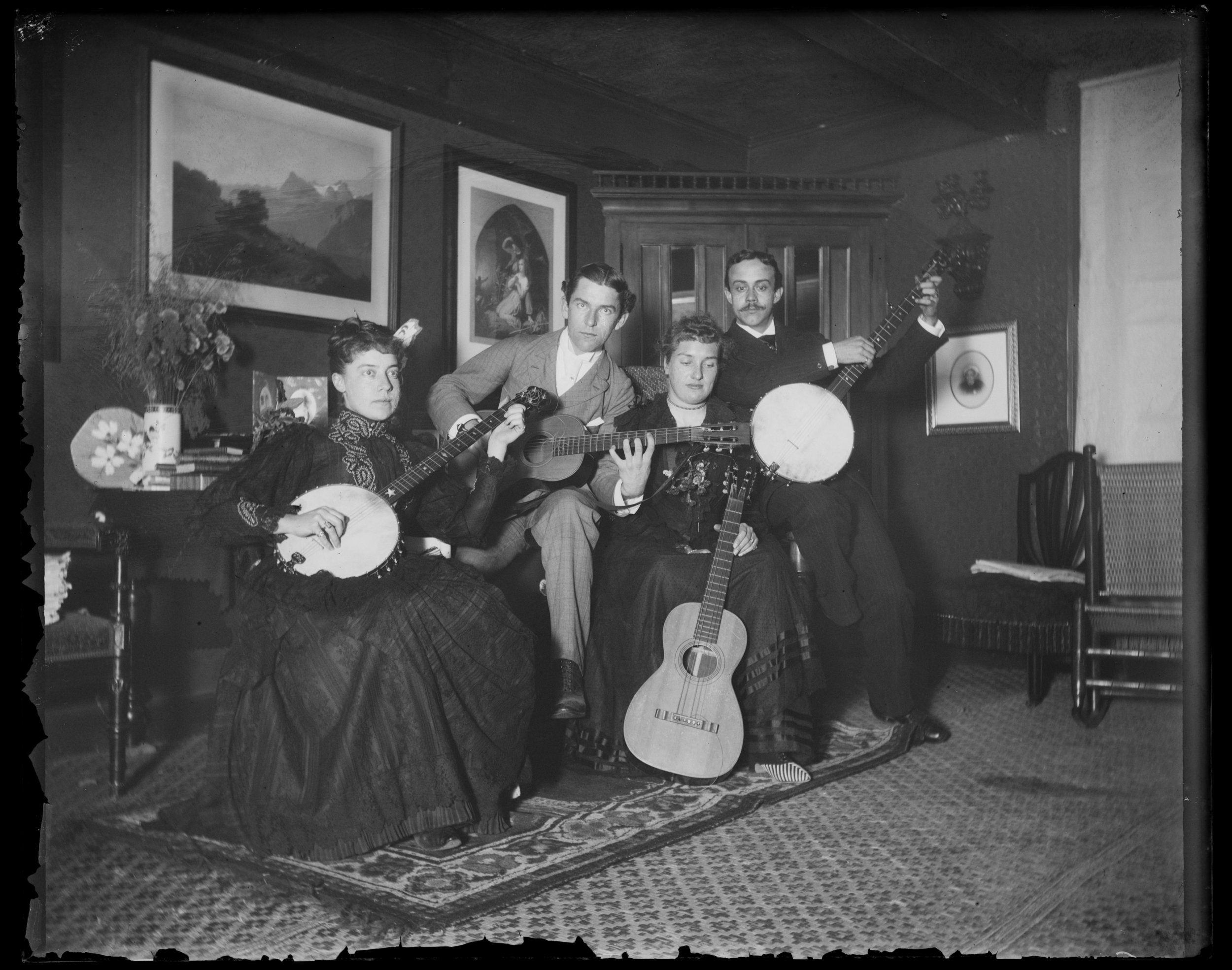 """Jack, Ben, Julia Bredt & self,"" in the middle parlor at Clear Comfort, October 21, 1890"