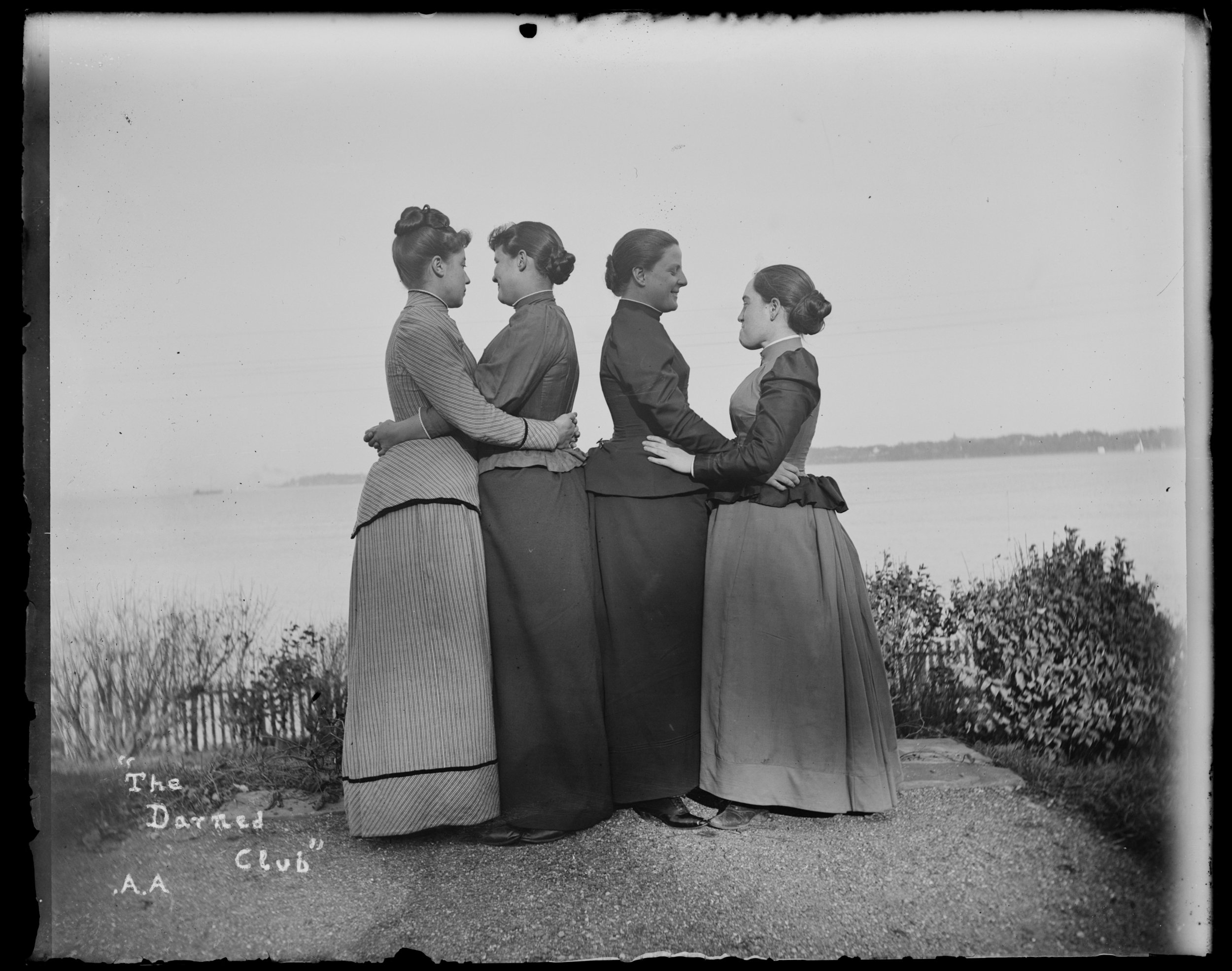 """The Darned Club,"" Staten Island, October 29, 1891. From left to right: Alice Austen, Trude Eccleston, Julia (Marsh) Lord, and Sue Ripley"