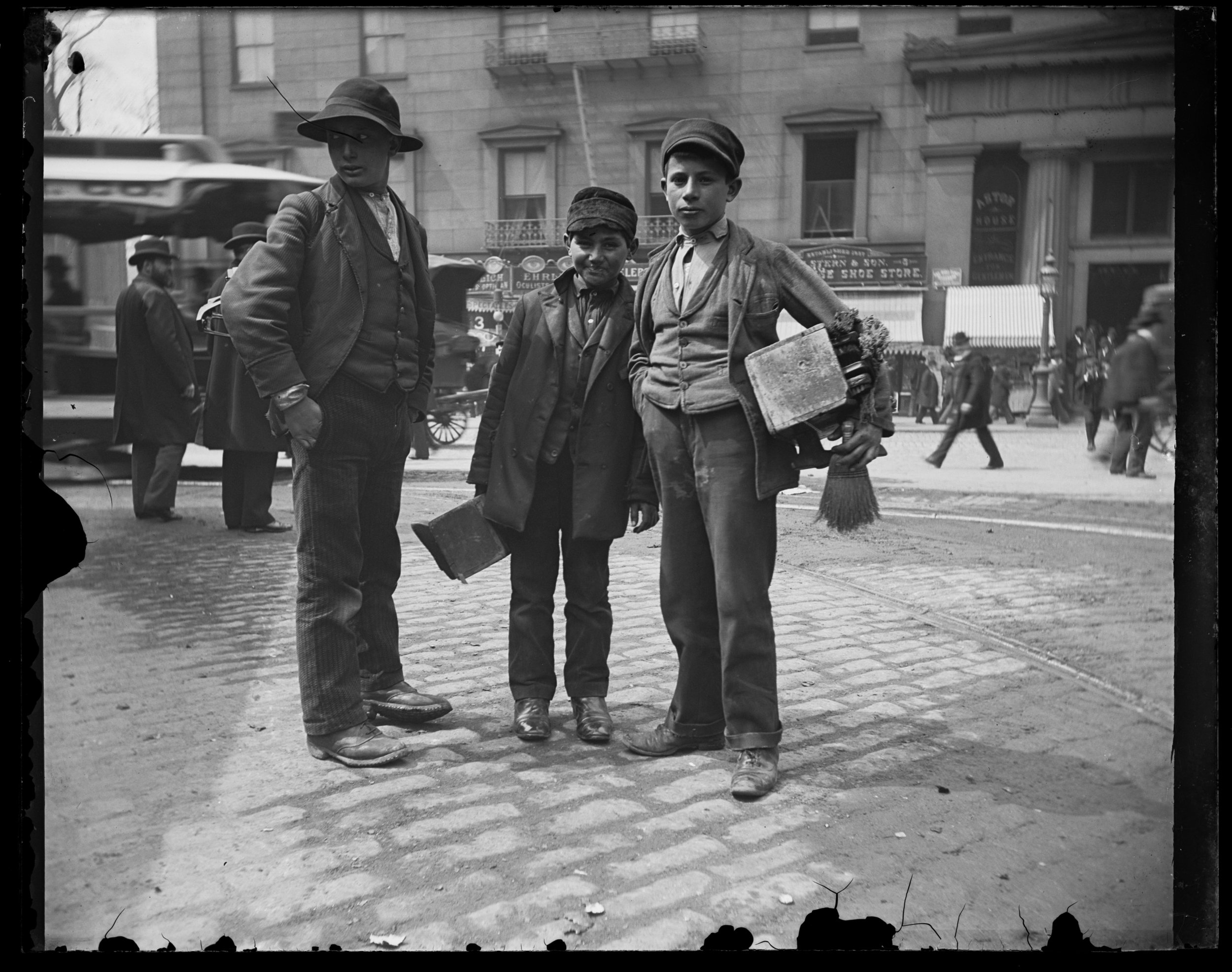 Three bootblacks, Manhattan, April 13, 1896