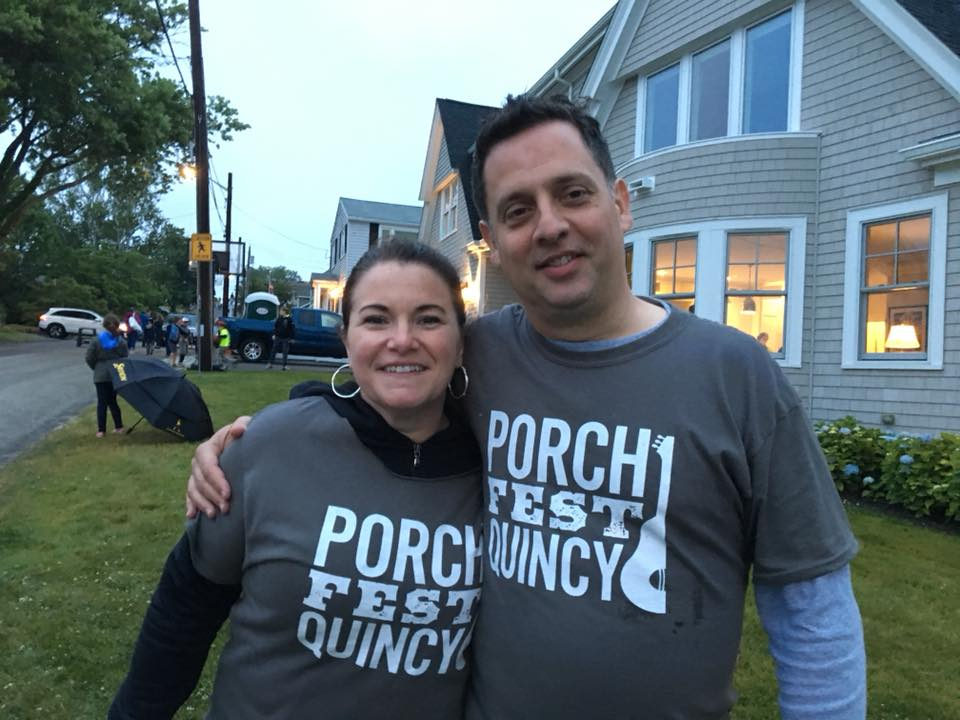 Squantum organizer Stacey LeMay and Walter Hubley