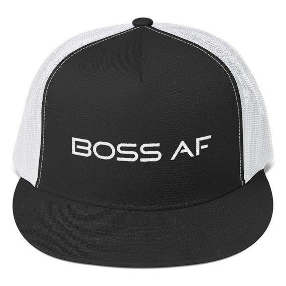 BOSS AF TRUCKER HAT - $24.95 - Classic trucker cap style with a cool fabric blend. 47% cotton/28% nylon/25% polyester - Structured Five panel - High profile / Flat bill / Snapback closure