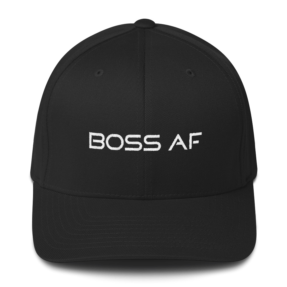 BOSS AF FLEXFIT BASEBALL CAP - $29.95 - If you're a BOSS AF entrepreneur, business owner or just a cool human needing a bold fashion statement this is for YOU! Available in two sizes with an elastic stretch band. Comfy AF!