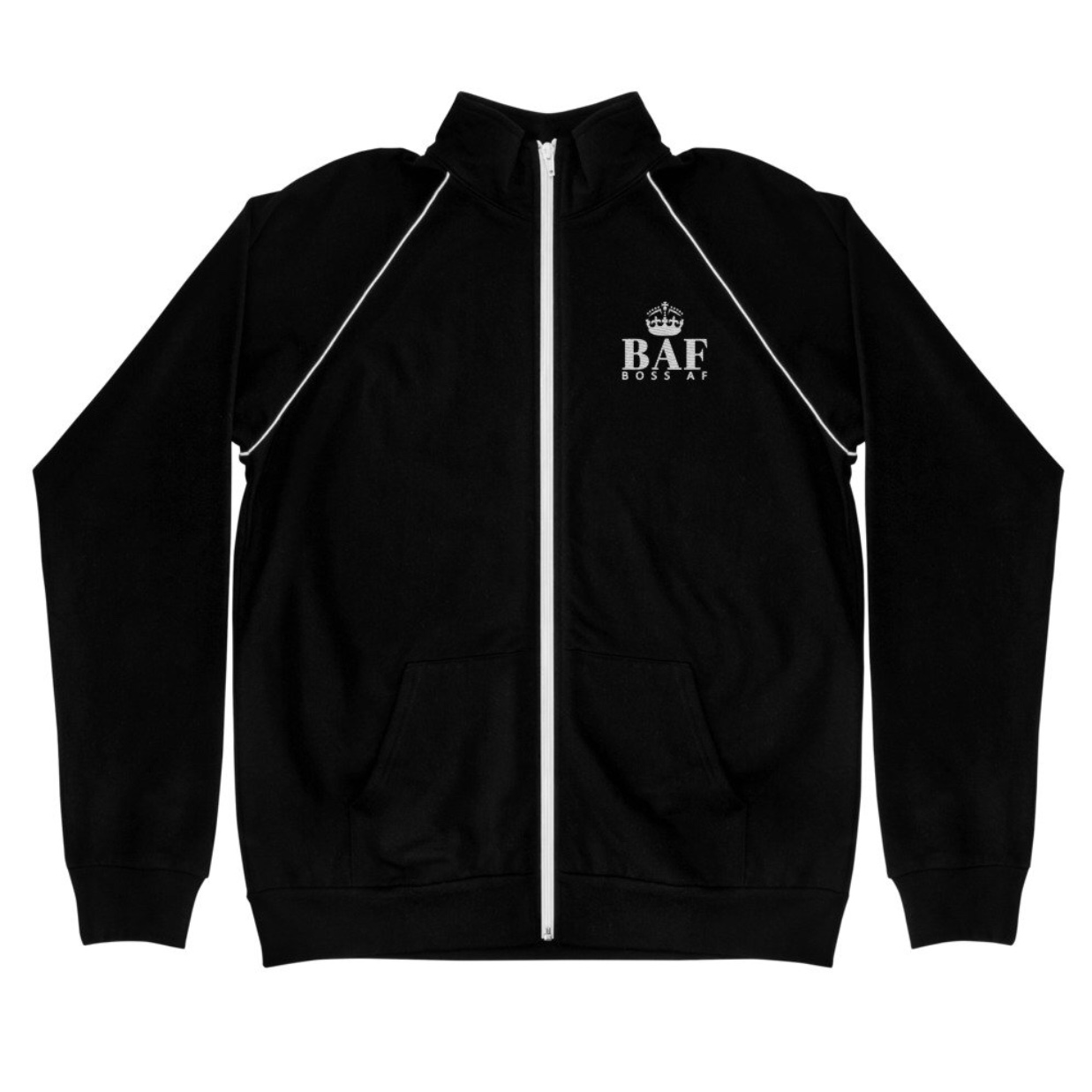 BOSS AF FLEECE JACKET - $48.00 - Protect yourself from the elements and make a BOFF AF fashion statement with this piped fleece jacket. It's pre-shrunk to last a long time and will easily become a favorite in your wardrobe.