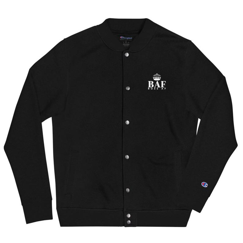 BOSS AF BOMBER JACKET - JET BLACK - $75.00 - Give your BOSS AF wardrobe an update this Fall and Winter with this embroidered Champion bomber jacket. The detailed BOSS AF embroidery adds a unique twist to the classic bomber jacket, resulting in a truly distinct fashion statement.
