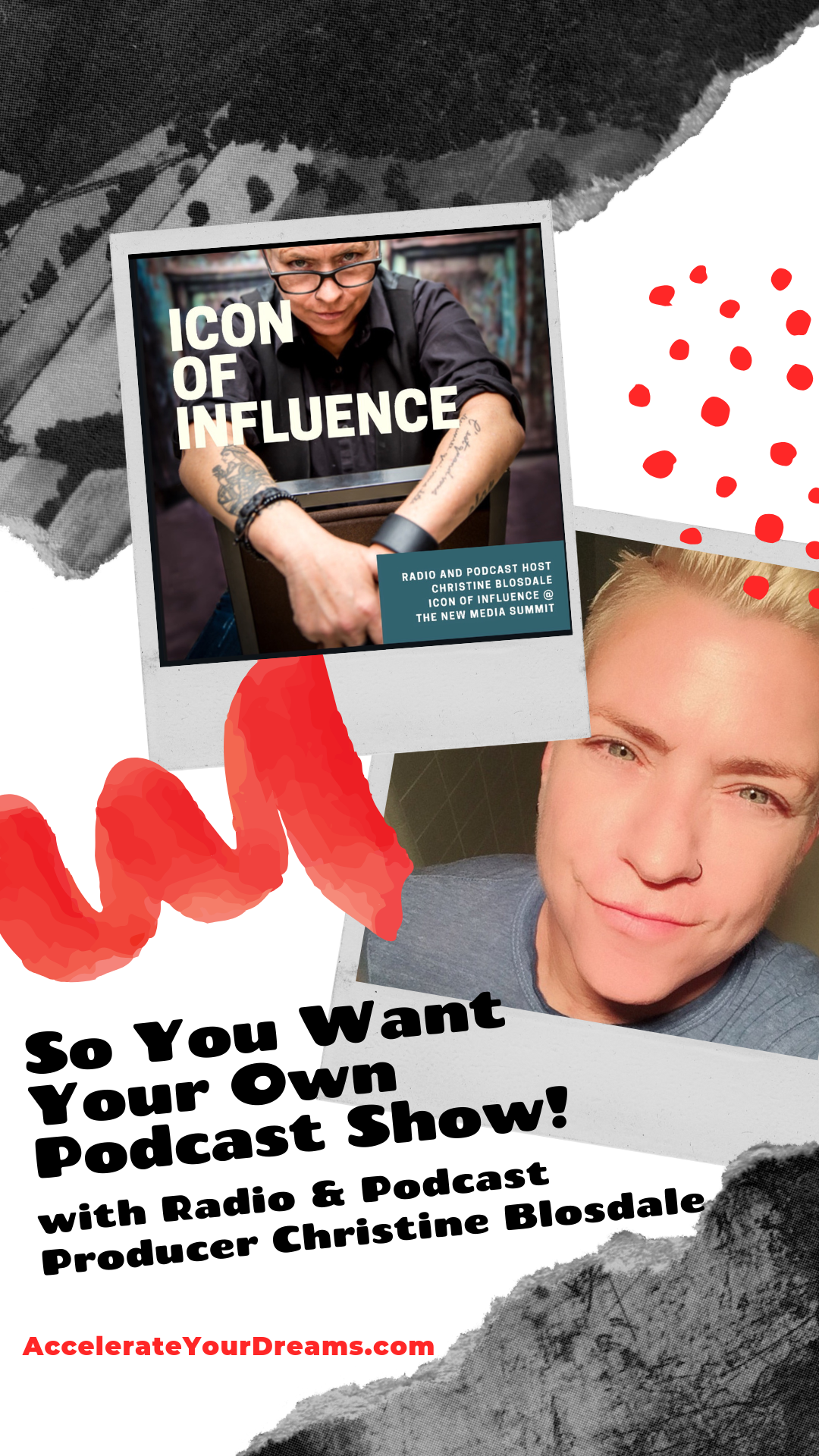 """""""SO YOU WANT YOUR OWN PODCAST SHOW"""" WEBINAR WORKSHOP - Learn how to CREATE YOUR VERY OWN PODCAST SHOW (and find out why this is one of the best ways to expand your Brand and Business) with Award Winning Podcast and Radio Producer CHRISTINE BLOSDALE (host of the Out of the Box With Christine Podcast Show).In this 90 minute program Christine offers you valuable information on how to develop your podcast show, maximize your impact on interviews, what tools and programs you will need to get started, and how you can save tons of money setting up your podcast!"""