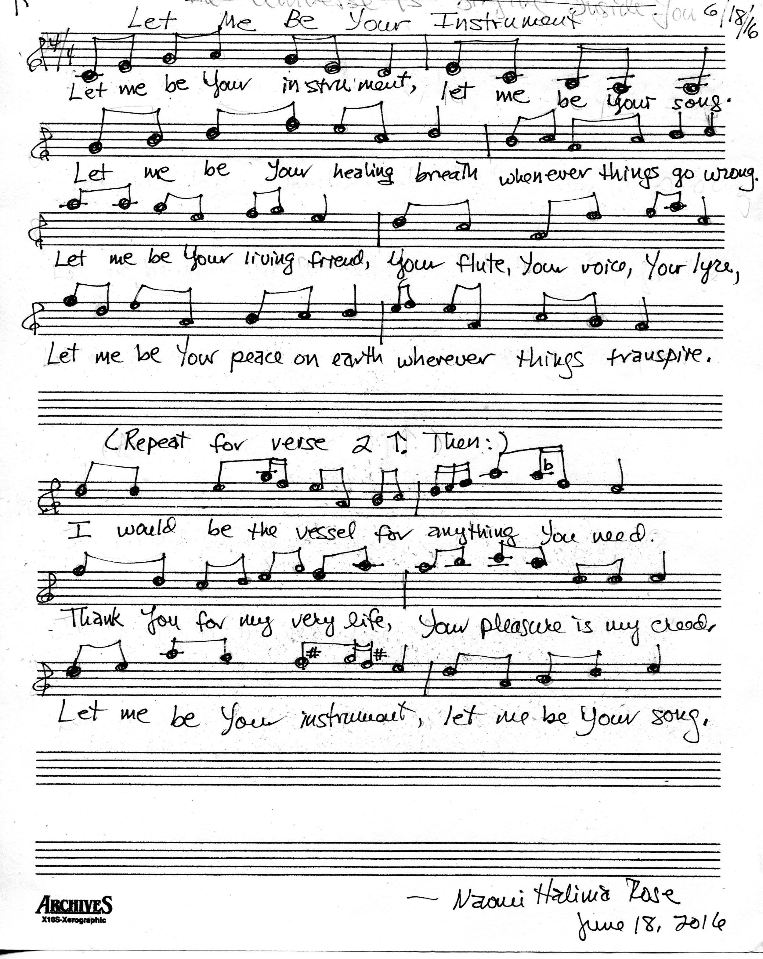 Sheet music, Let Me Be Your Instrument (Naomi).jpg