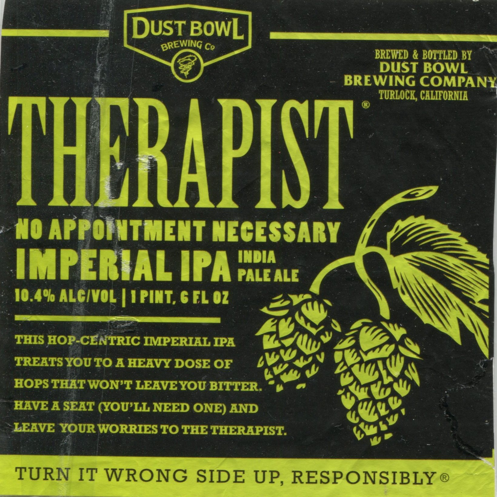 """A label for a product i couldn't resist buying because of the copy. It says: """"Therapist ale. No appointment necessary. this hop-centric imperial ipa treats you to a heavy dose of hops that won't leave you bitter. have a seat (you'll need one) and leave your worries to the therapist."""" (and yes, I did drink it.)"""