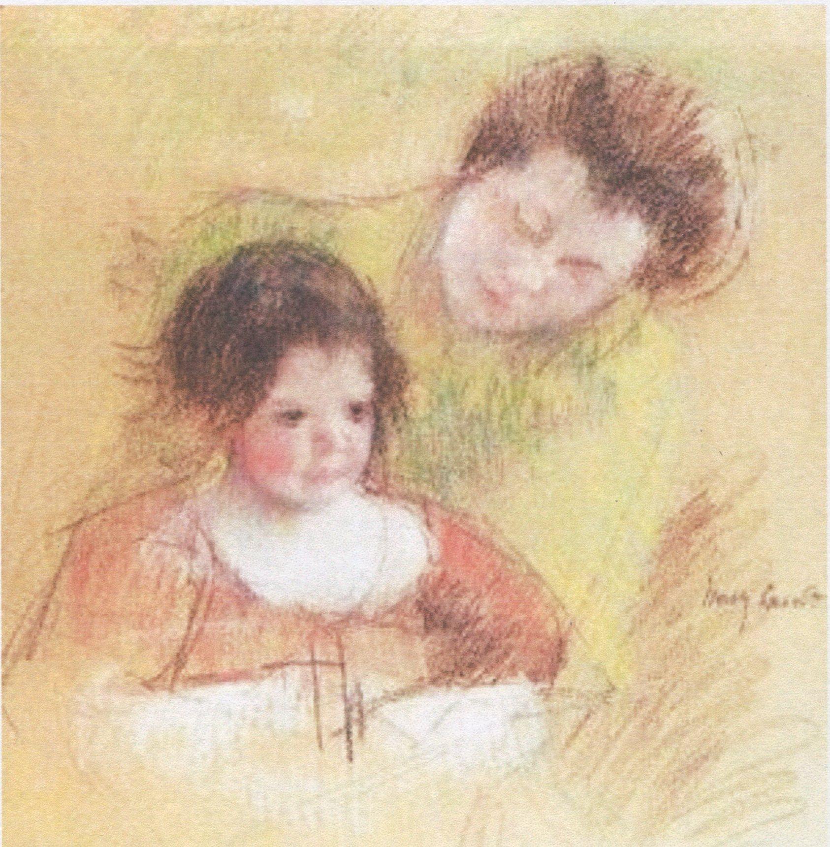 Mary Cassatt, sketch (color) - Reine leaning over Margot's shoulder.jpg