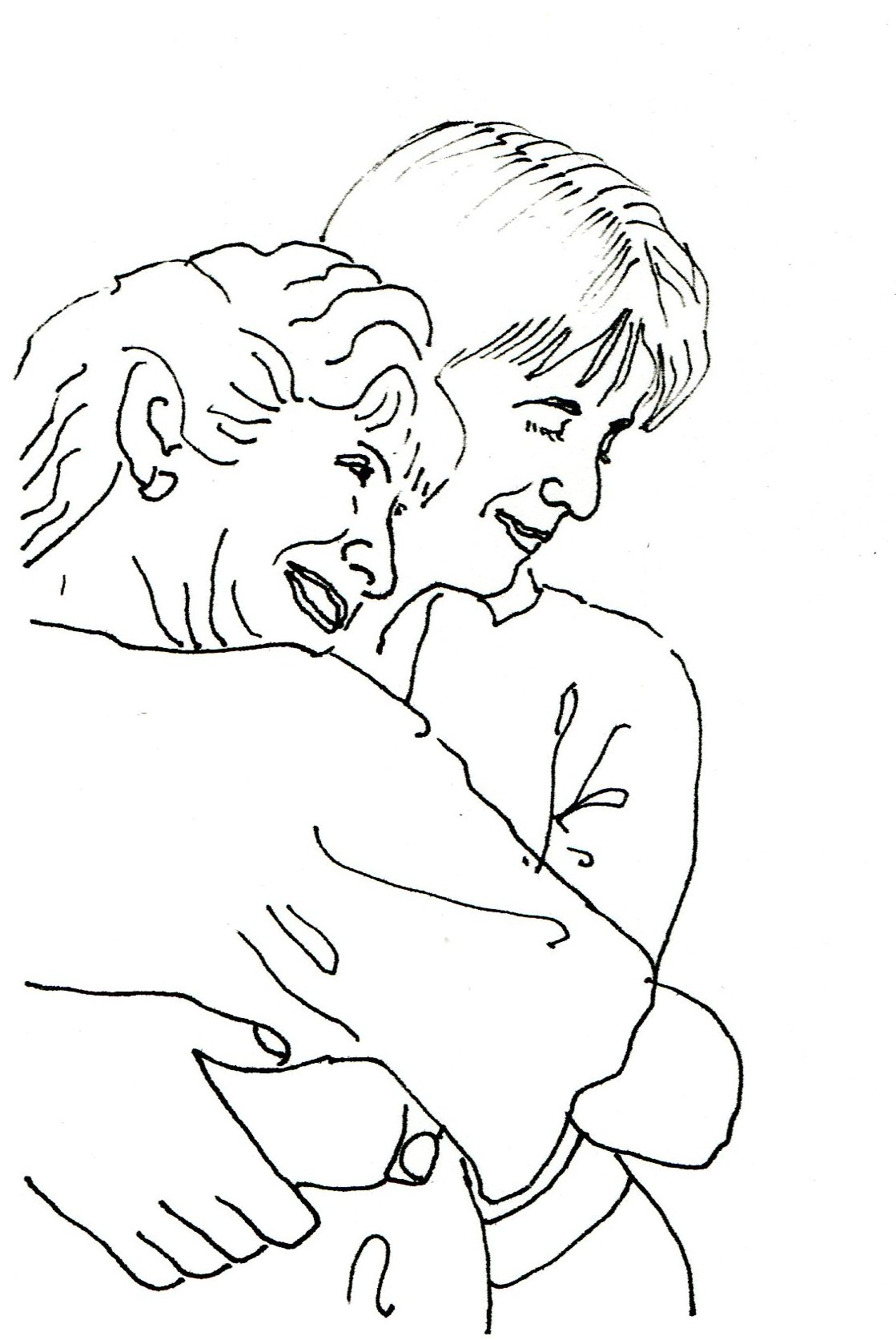 "This drawing was commissioned by a woman as a gift for her mother's (surprise) 80th-birthday party. The daughter wanted to give the gift of a special moment between them from an earlier time. In preparation, she sent me the photo from which I did this drawing. Later, after the birthday celebration was over, she told me that her mother had exclaimed, ""I remember that photo!"" and greatly savored the idea — and the reality — of this drawing. -"