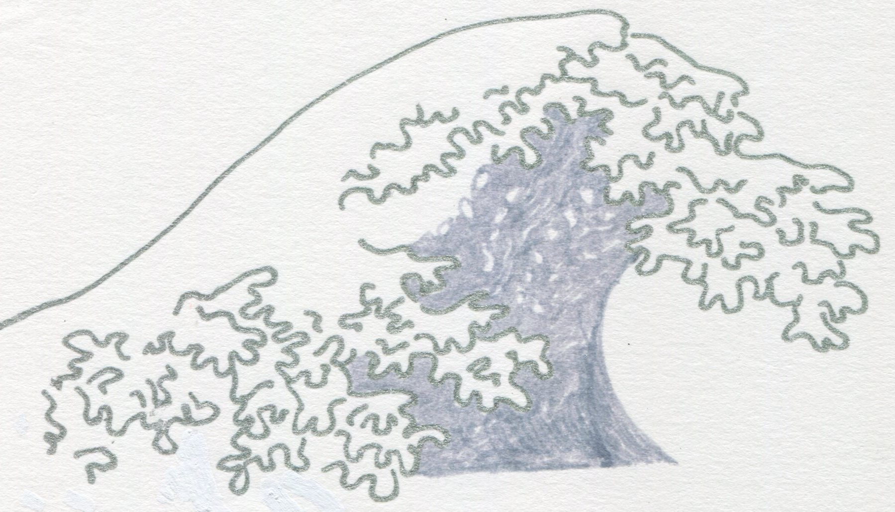 I was helping a client self-publish her book, and more than halfway through she had the idea to include illustrations opposite a spate of quotations, on what otherwise would have been blank pages. Since the title of her book was The Wave and the Drop, the motif was a no-brainer. Given the book's subject — stories of the afterlife in different traditions to help ease a dying person's transition — I wanted to make the drawings both strong and delicate. I bought some lovely silver-colored gel pens in different shades, and this drawing (one of 13 I ended up doing) is in keeping with the spirit of the book. -