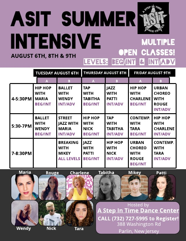 ASIT Summer Intensive!! Aug 6th, 8th and 8th, 2019  Email astepintimedance01@gmail.com to register.
