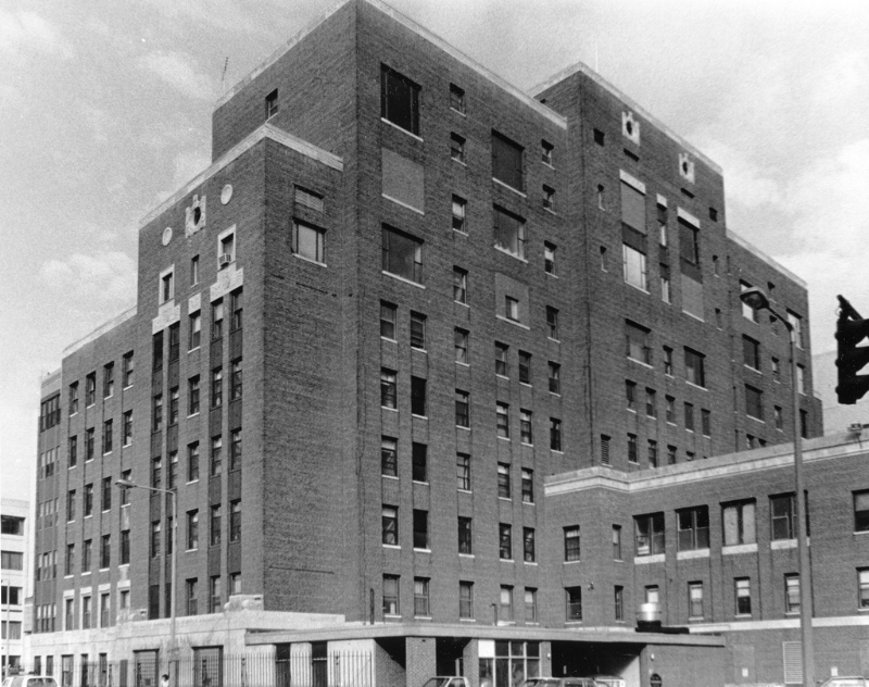 Boston City Hospital, where Dr. Edward Kass described the epidemiology of urinary tract infections in the 1950s. Reproduced from the records of Mayor Raymond L. Flynn, Boston City Archives.