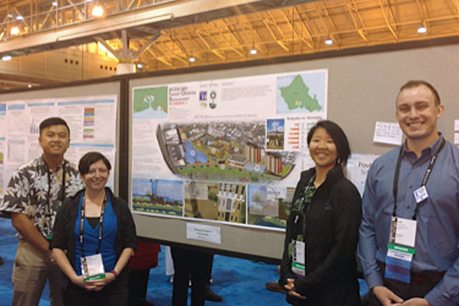 Brandon Soo, MURP 2018; Amanda Rothschild, Current Student; Laura Mo, MURP 2018; and Bear Braich, MURP 2018; in front of their National Award Winning Posters at the APA National Conference in New Orleans.