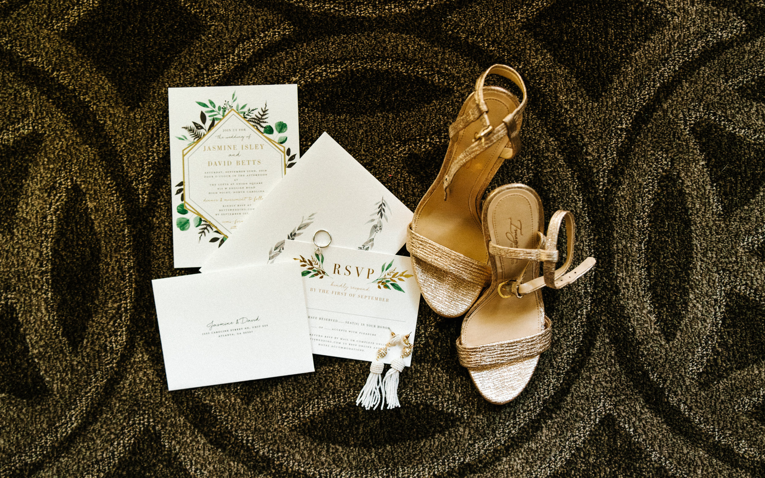 Minted Wedding Suite. Foliage, Metallic Invitation Suite. Gold Heels.