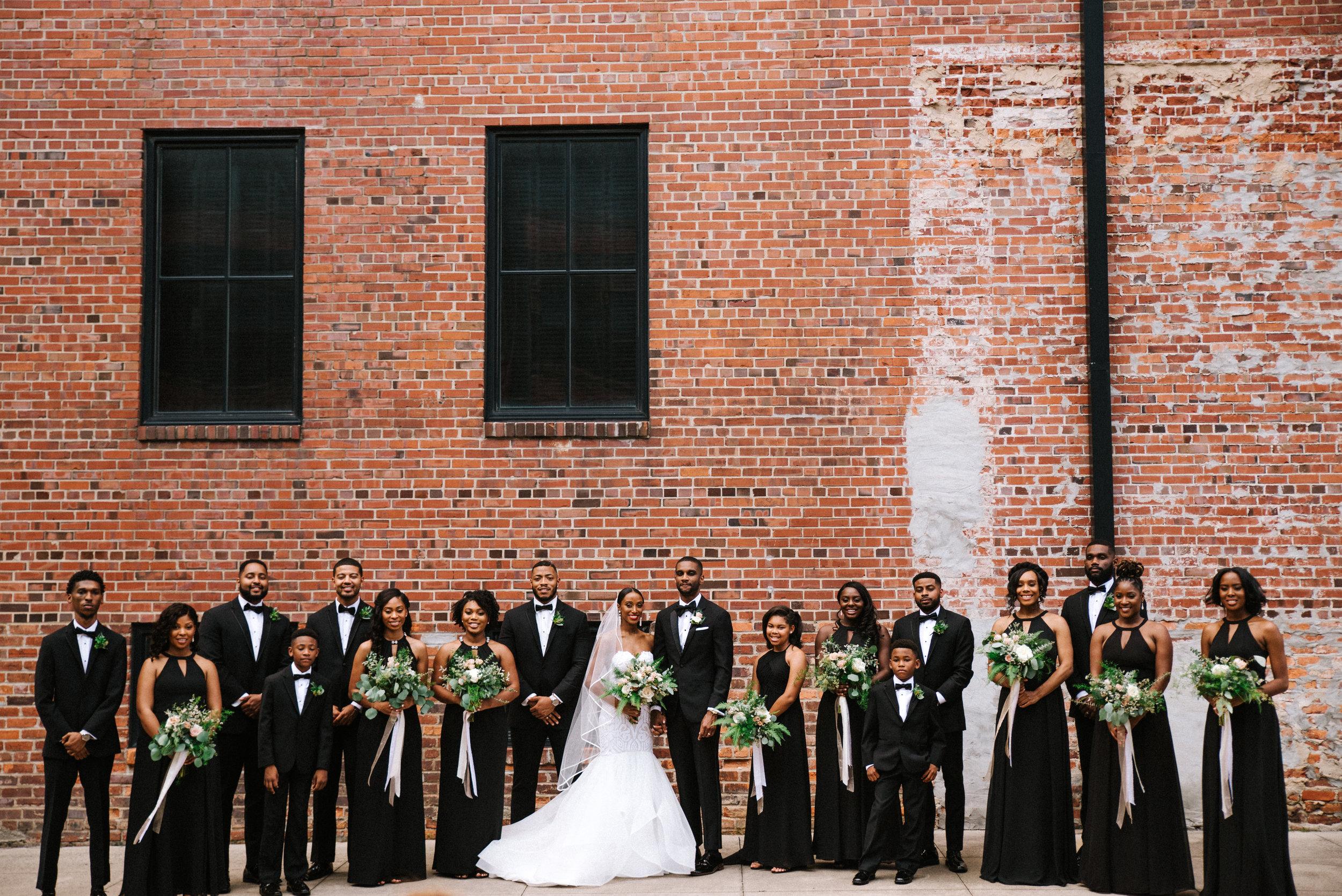 The Lofts at Union Square, High Point, NC. Wedding Party photos. North Carolina Wedding Photographer, Marina Rey Photography.