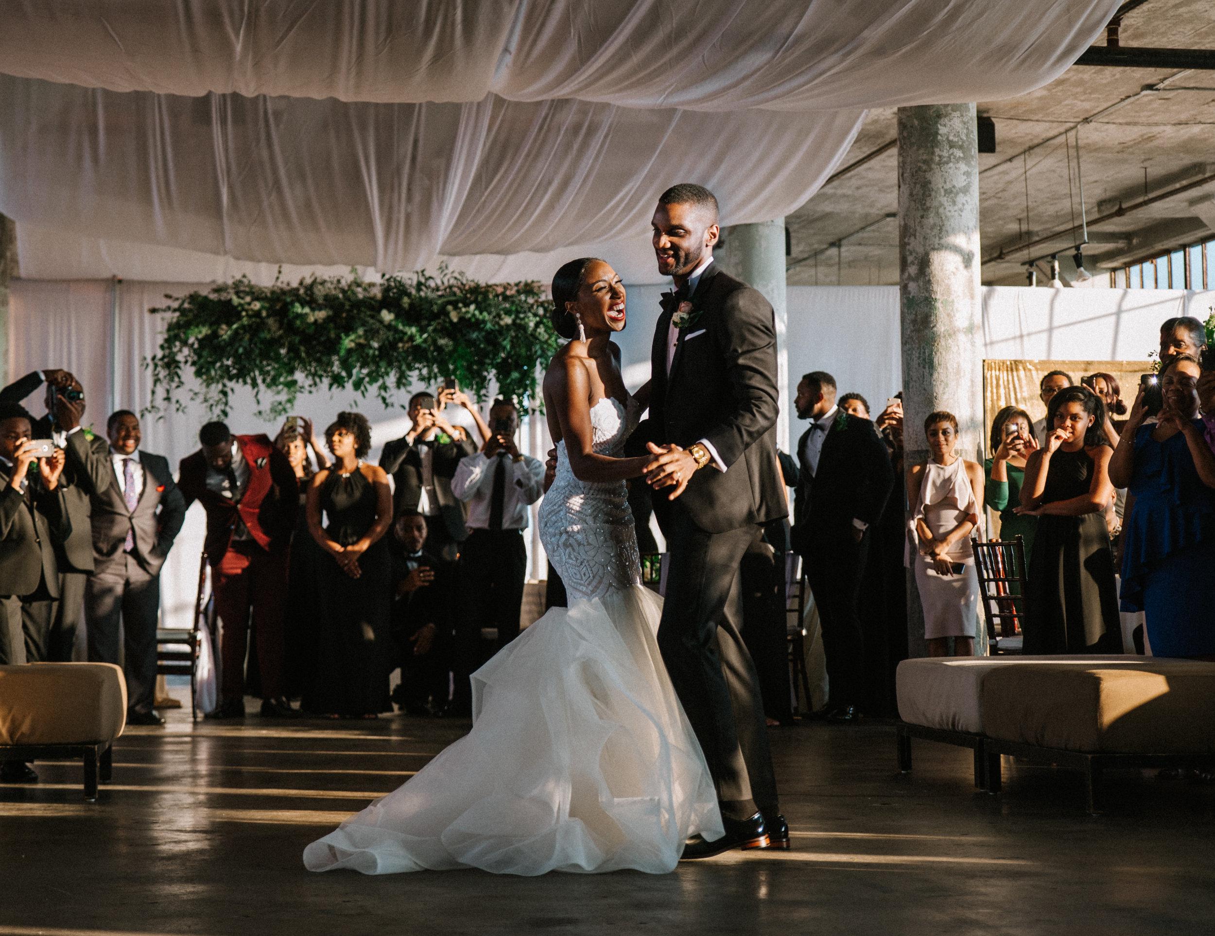The Lofts at Union Square, High Point, NC. Wedding Reception Photos, First Dance Photos. North Carolina Wedding Photographer, Marina Rey Photography.